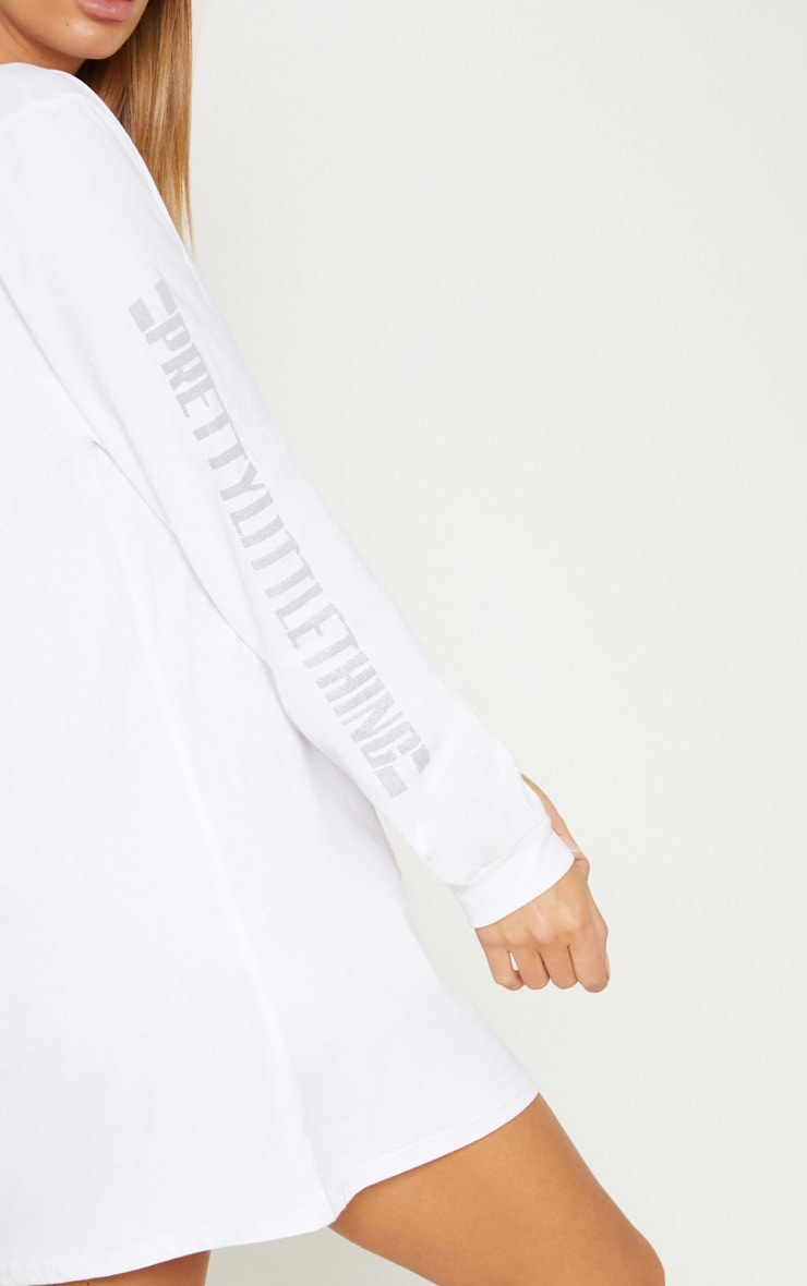 PRETTYLITTLETHING White Oversized Long Sleeve T Shirt Dress 5