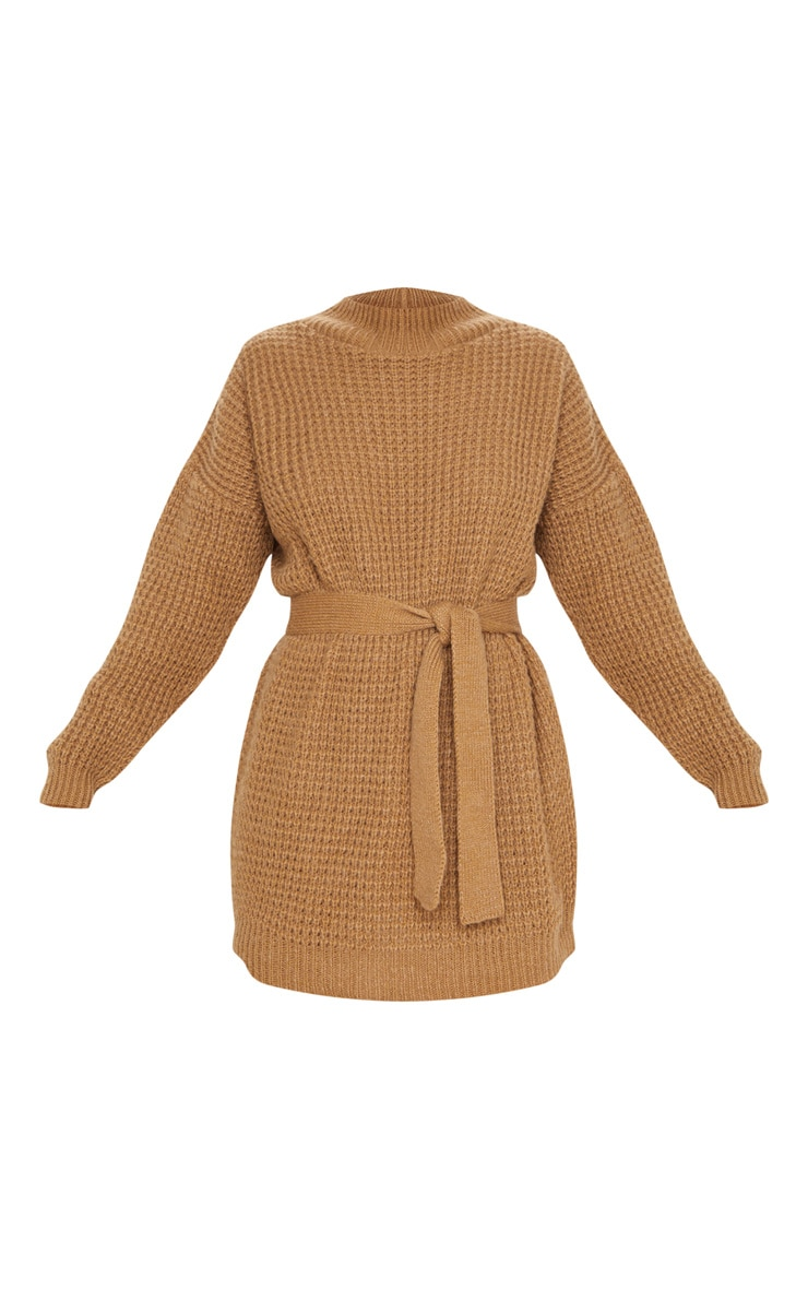 Camel Soft Touch Belted Knitted Sweater Dress 5