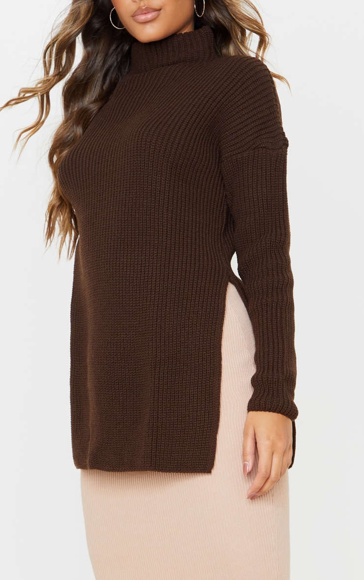 Chocolate Brown High Neck Knitted Side Split Jumper 5
