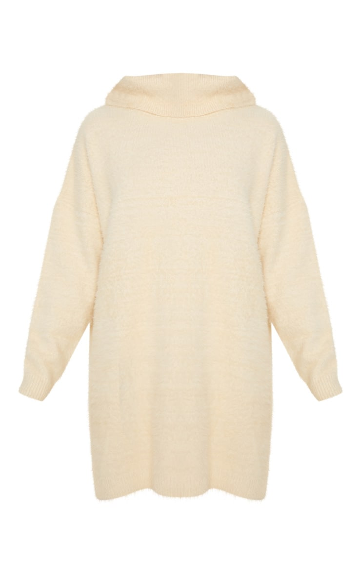 Cream Knitted High Neck Jumper Dress 3