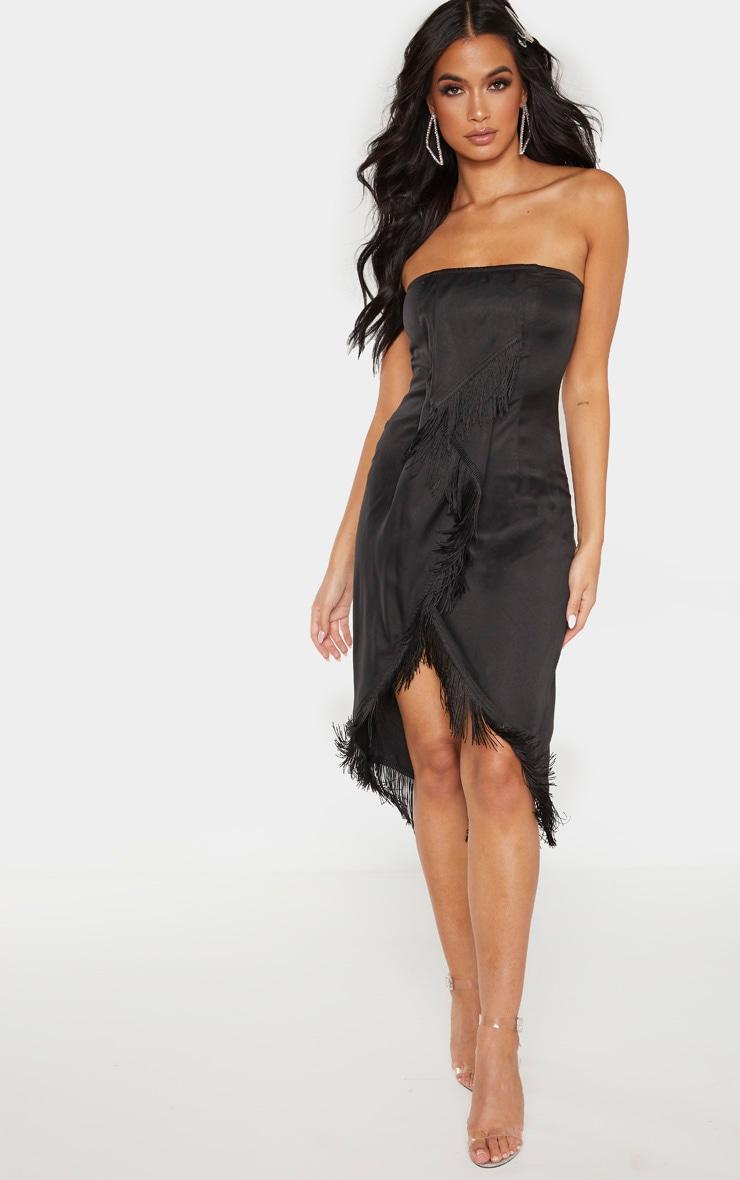 Black Bandeau Tassel Front Midi Dress 1