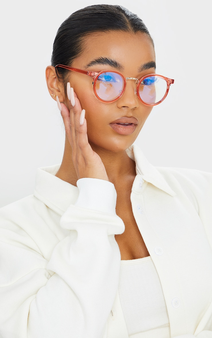 Jeepers Peepers Pink Round Blue Light Glasses 1