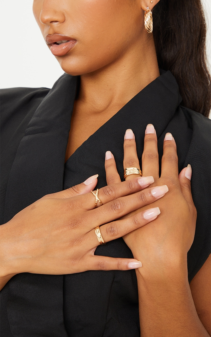 Gold Hammered Assorted 3 Pack Rings 1