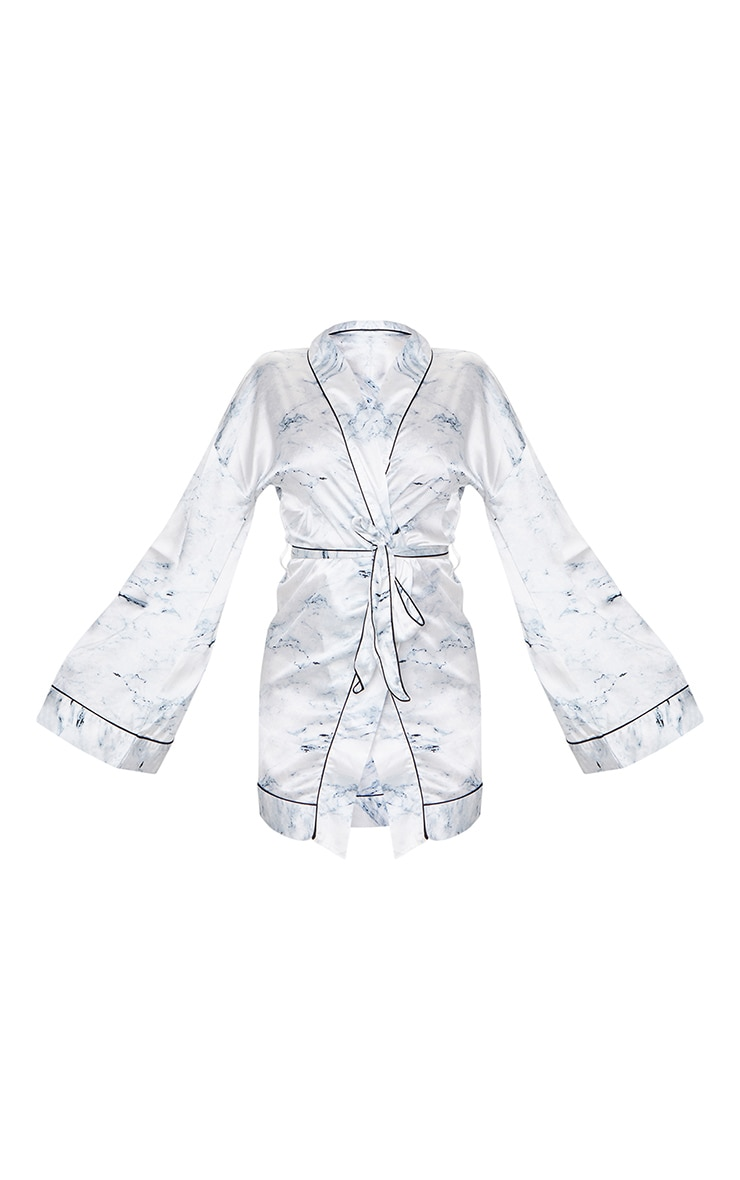White Marble Print Satin Robe 5