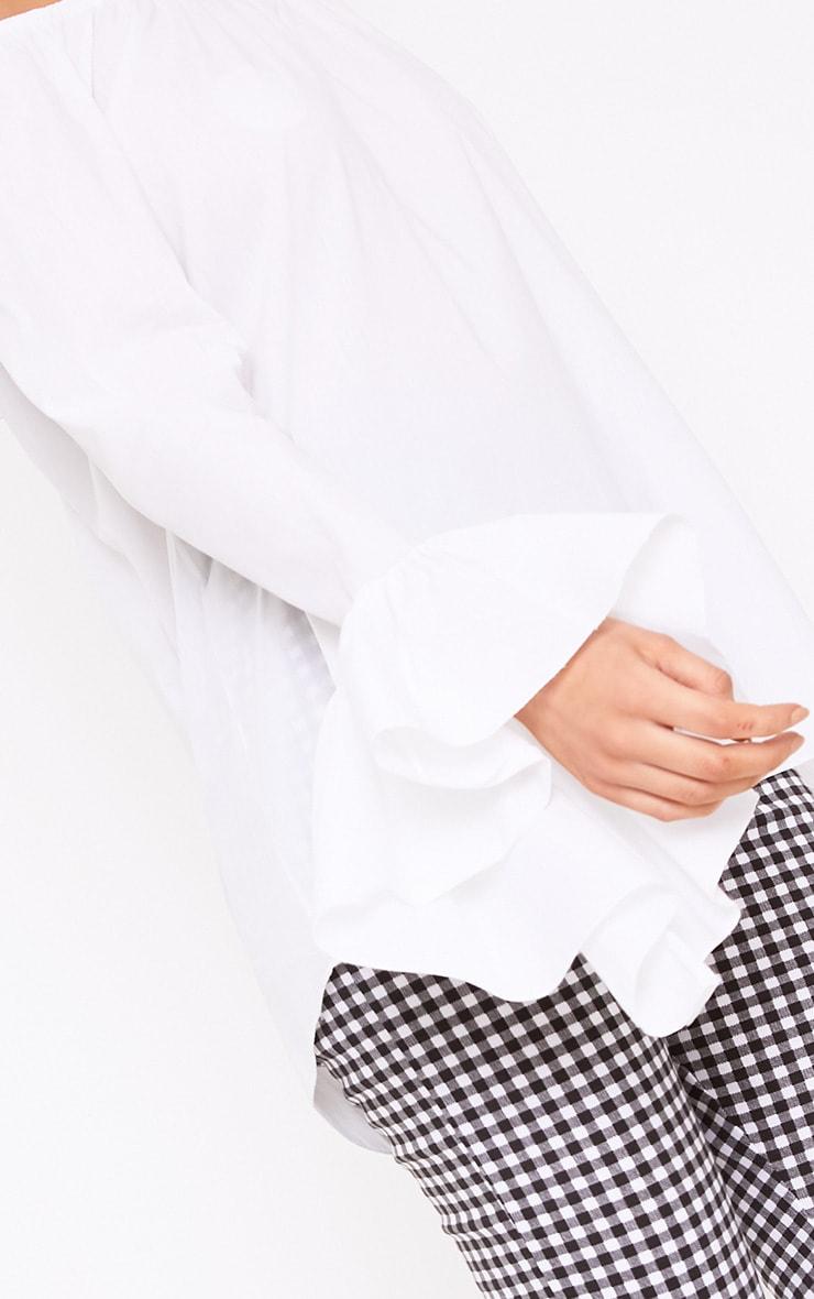 15e54bd0af730 Yadira White Bardot Flute Sleeve Shirt image 5