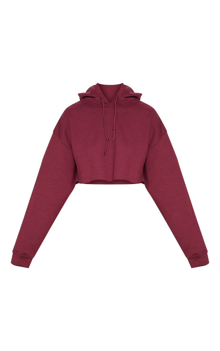 Maroon Ultimate Oversized Crop Hoodie 3