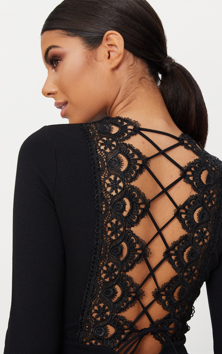 Black Lace Up Back Detail Romper 5
