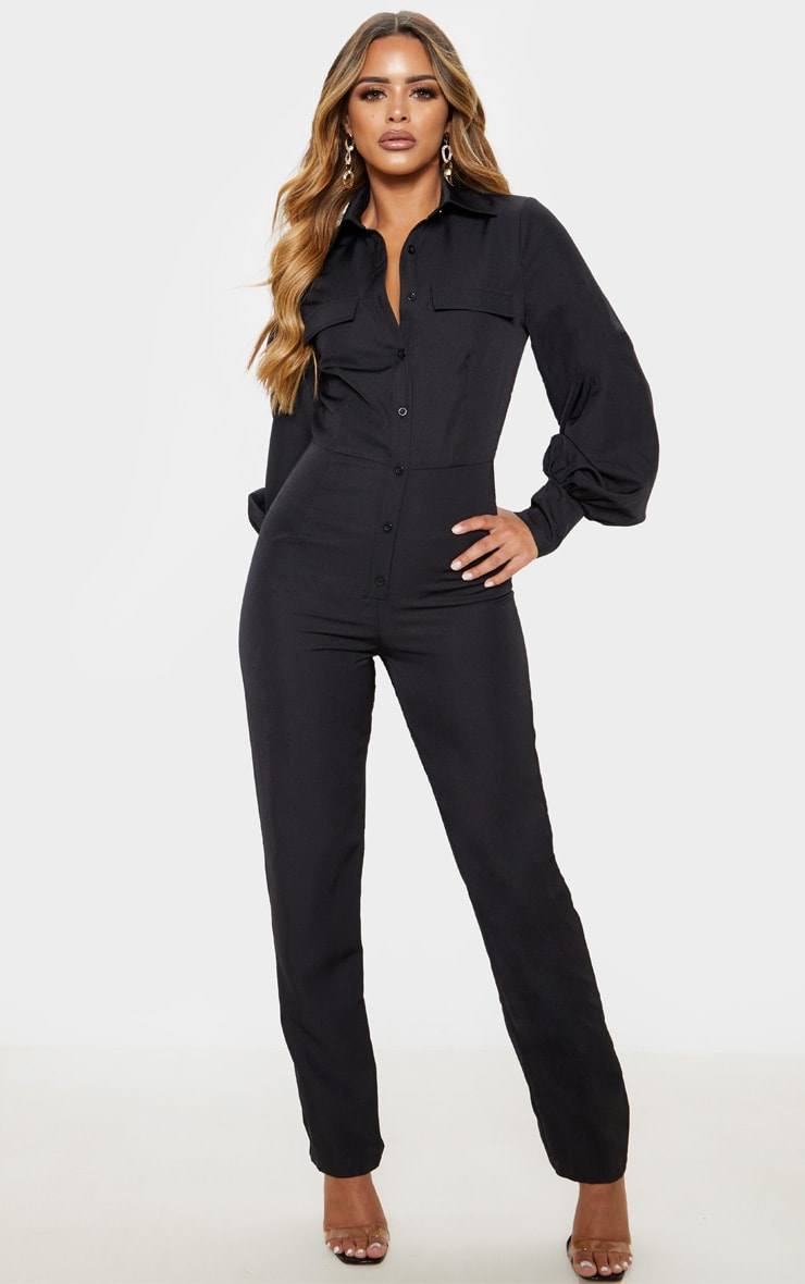 Petite Black Full Sleeve Pocket Detail Jumpsuit 1