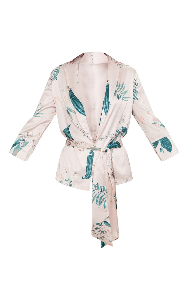 Blush Satin Floral Printed Long Sleeve Belted Blouse 3