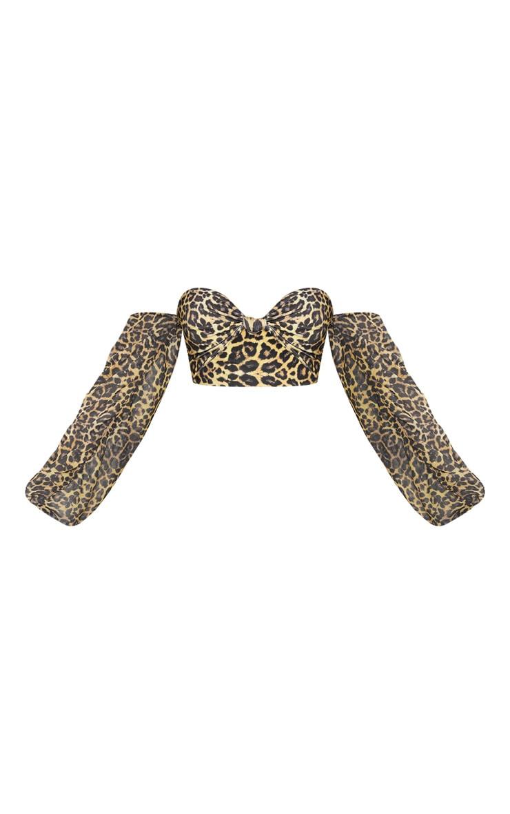 Leopard Puff Sleeve Strapless Bikini Top 3