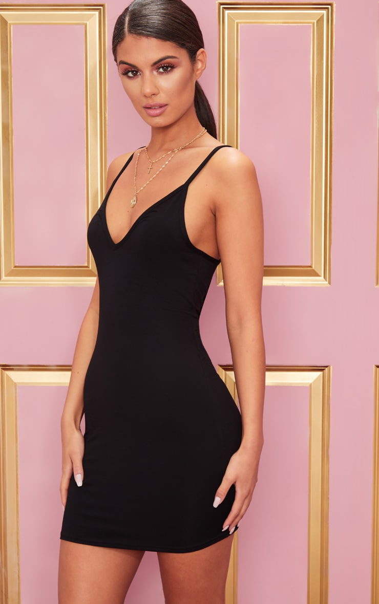 Basic Black Extreme Plunge Strappy Bodycon Dress 1