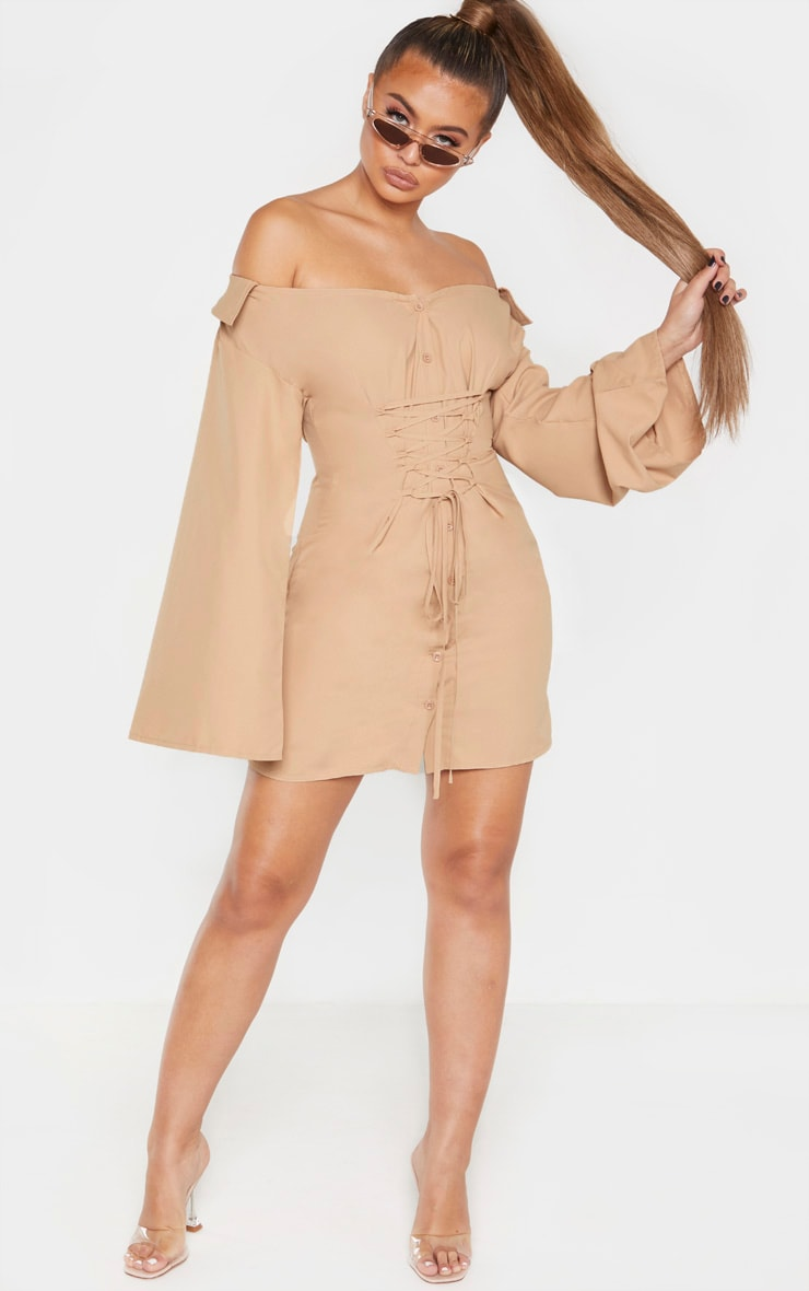Biscuit Bardot Flare Sleeve Lace Up Shirt Dress 4