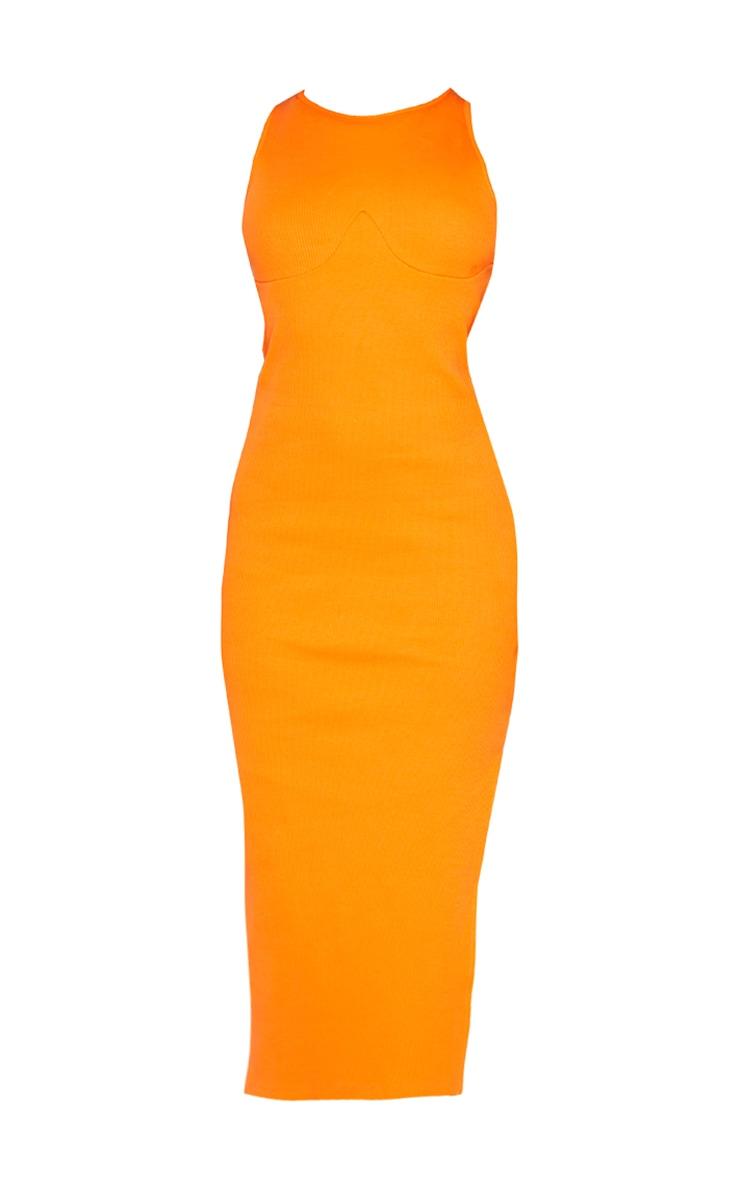 Bright Orange Cup Detail Racer Split Midi Dress 5