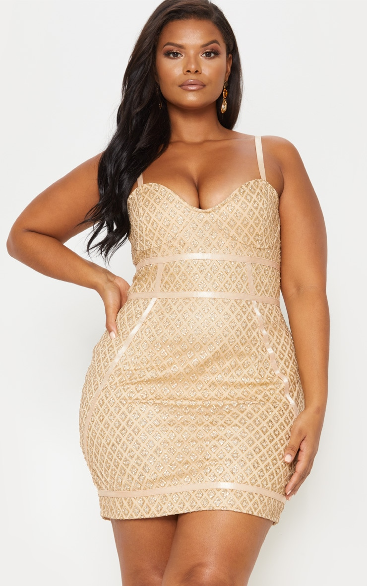 Gold Diamond Glitter Binding Detail Bodycon Dress 2