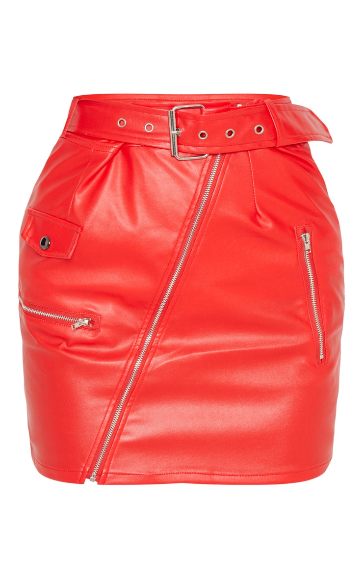 Red Faux Leather Biker Belted Mini Skirt 3