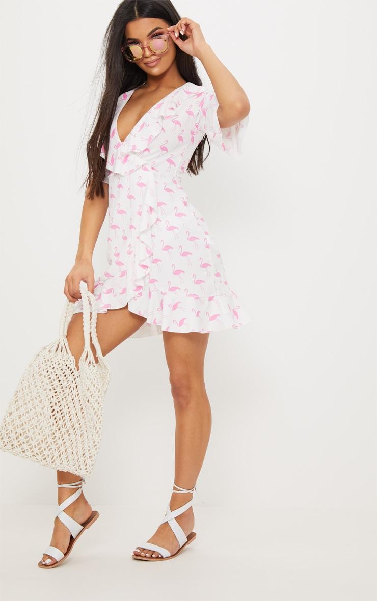 White Flamingo Print Frill Wrap Over Tea Dress 4