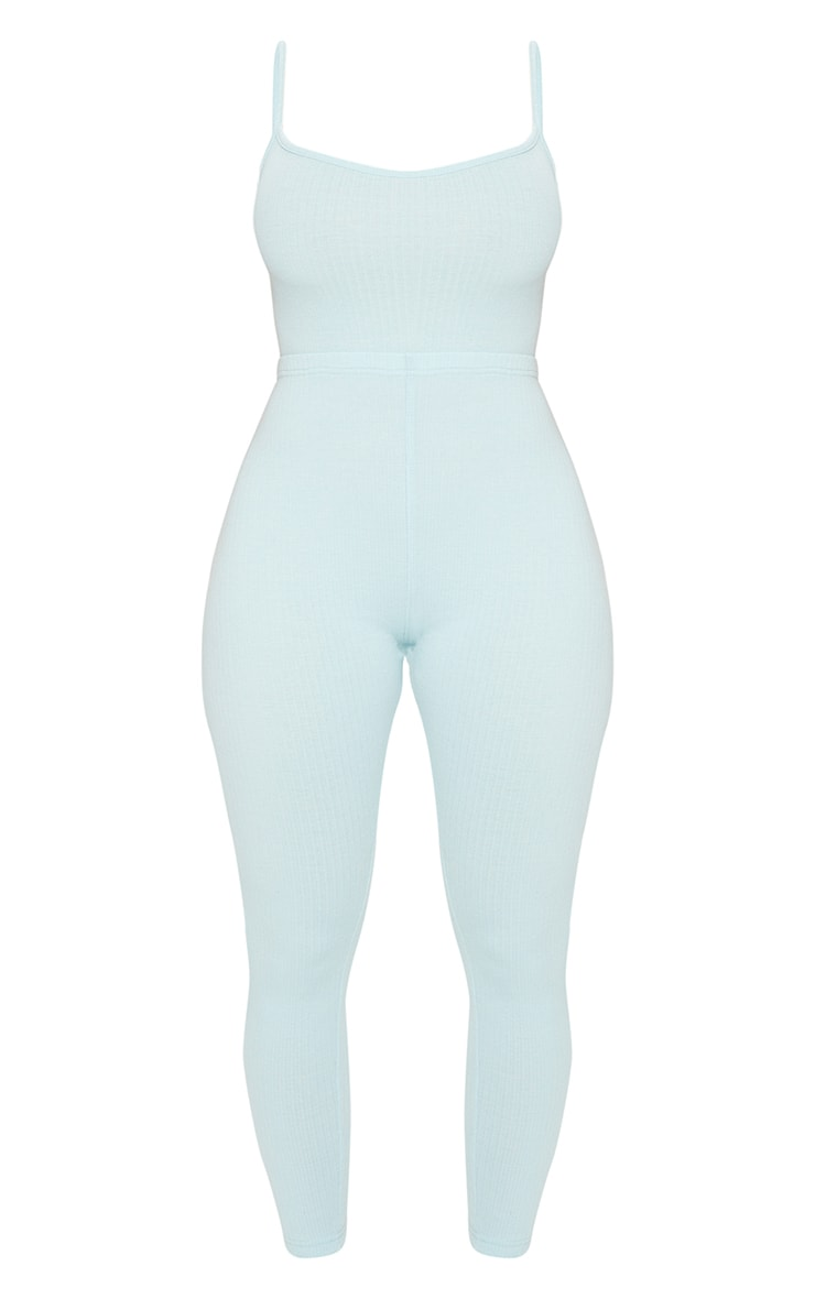 Shape Dusty Blue Thick Rib Strappy Cut Out Back Jumpsuit 5