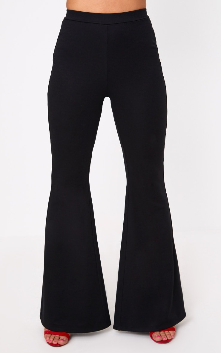 Black Fitted Wide Leg Trousers 2