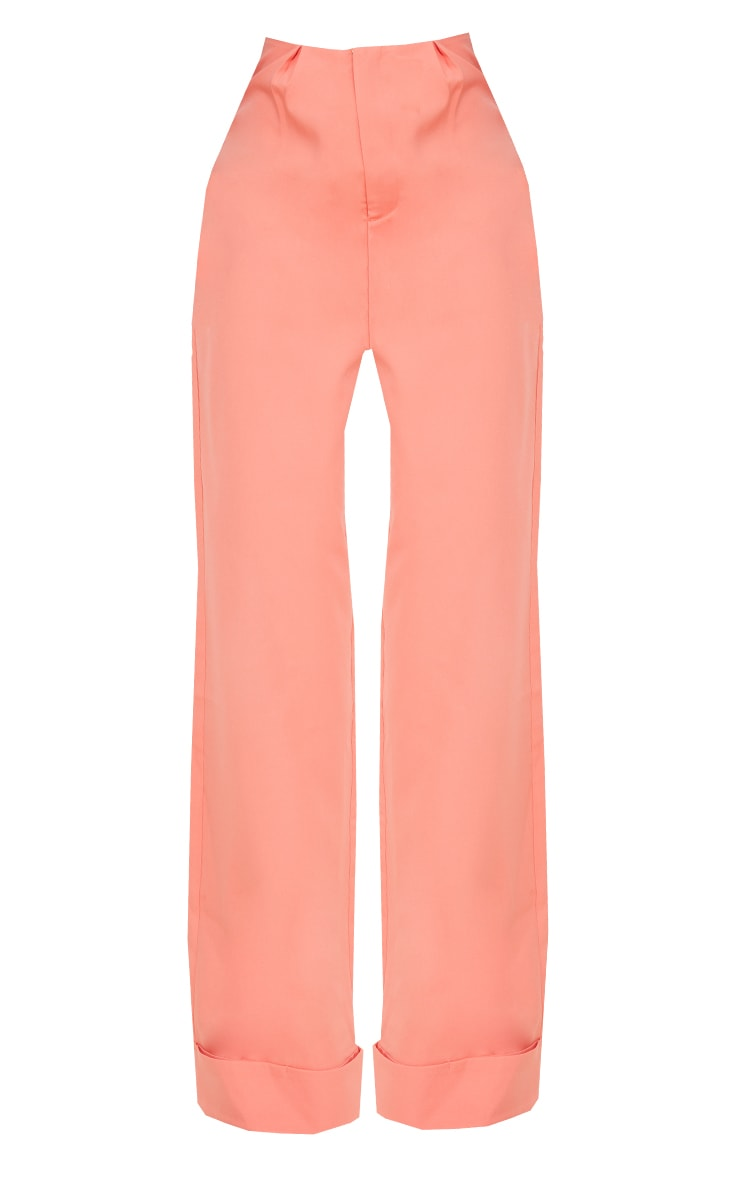 Tall Coral Woven Turn Up Hem High Waisted Pants 5