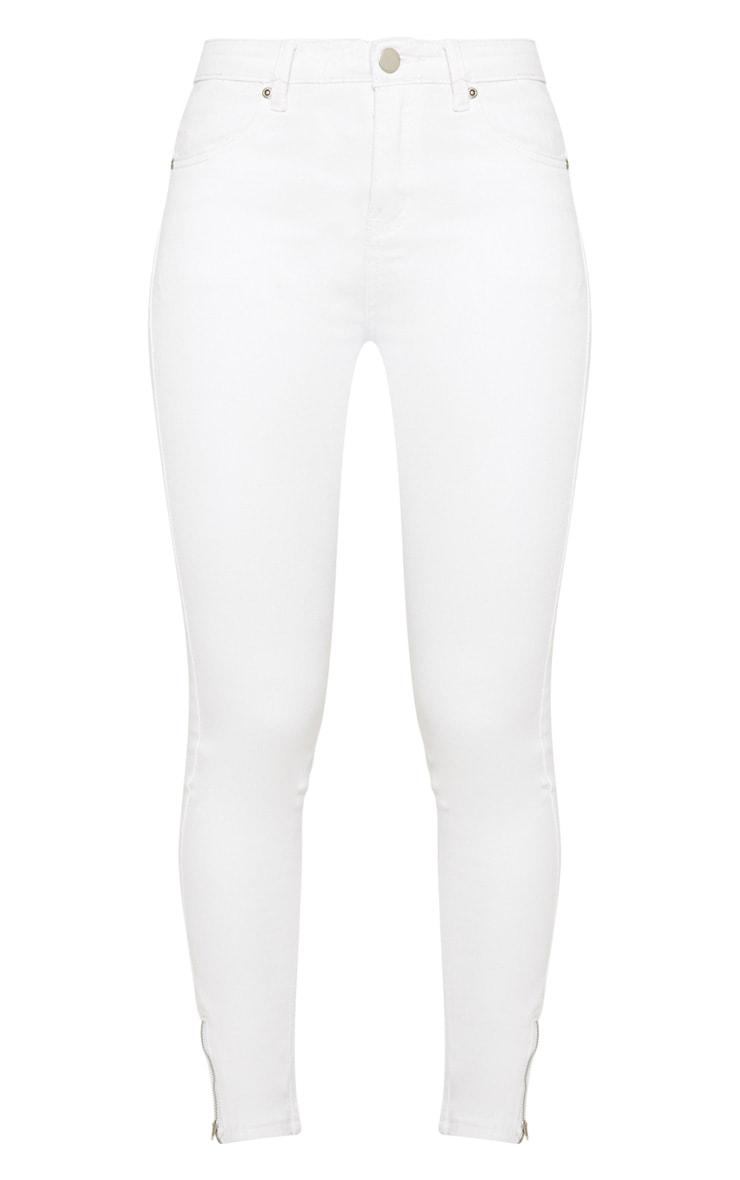 Jean skinny blanc longueur cheville taille haute 3