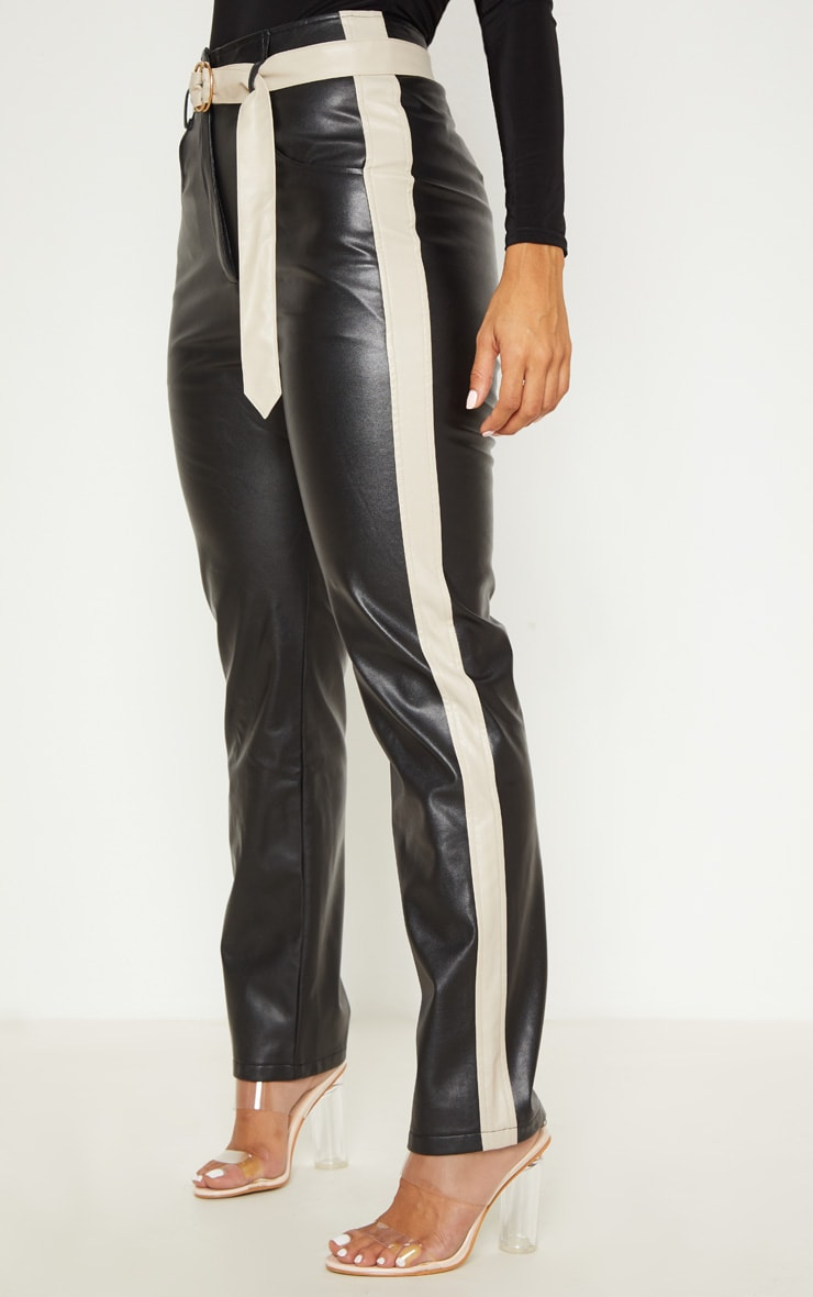 Black Faux Leather Belt Trousers 2