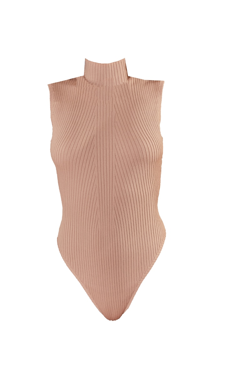 Nude Ribbed Knitted High Neck Bodysuit 5