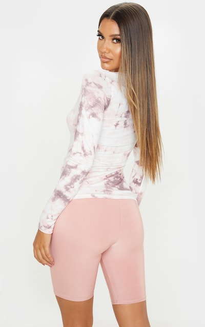 Basic Pink Tie Dye Long Sleeve Fitted T Shirt