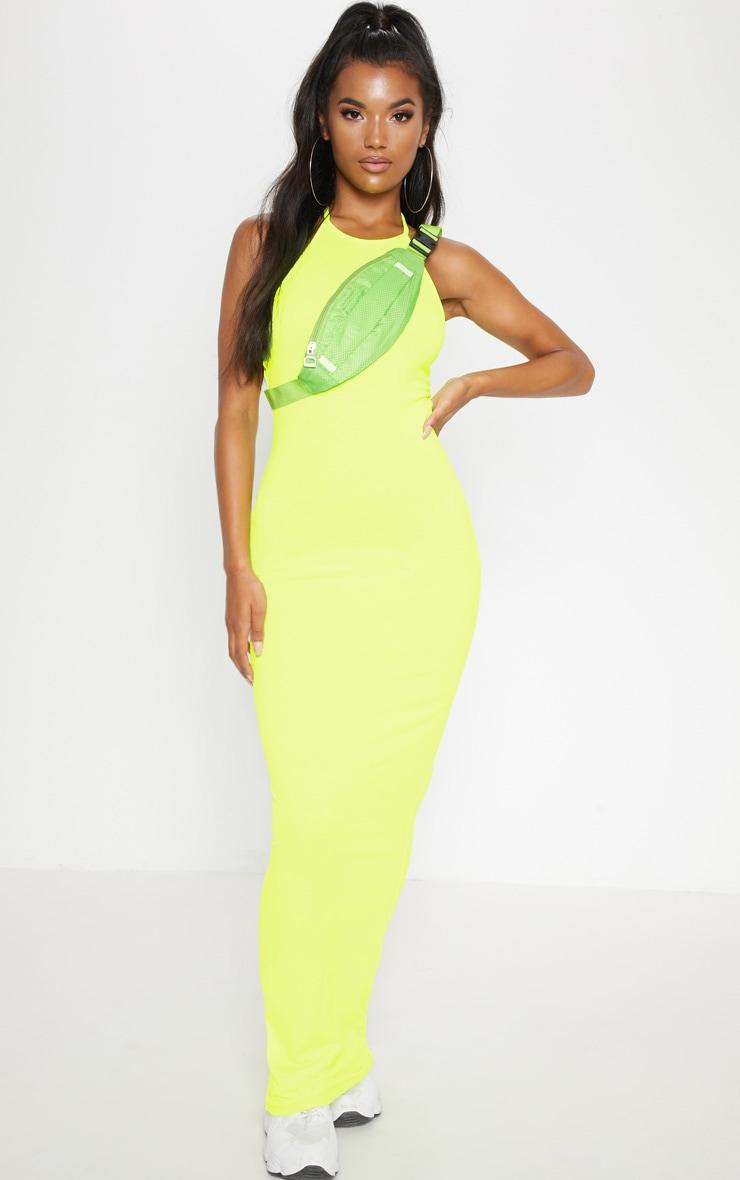 Basic Neon Yellow Halterneck Maxi Dress