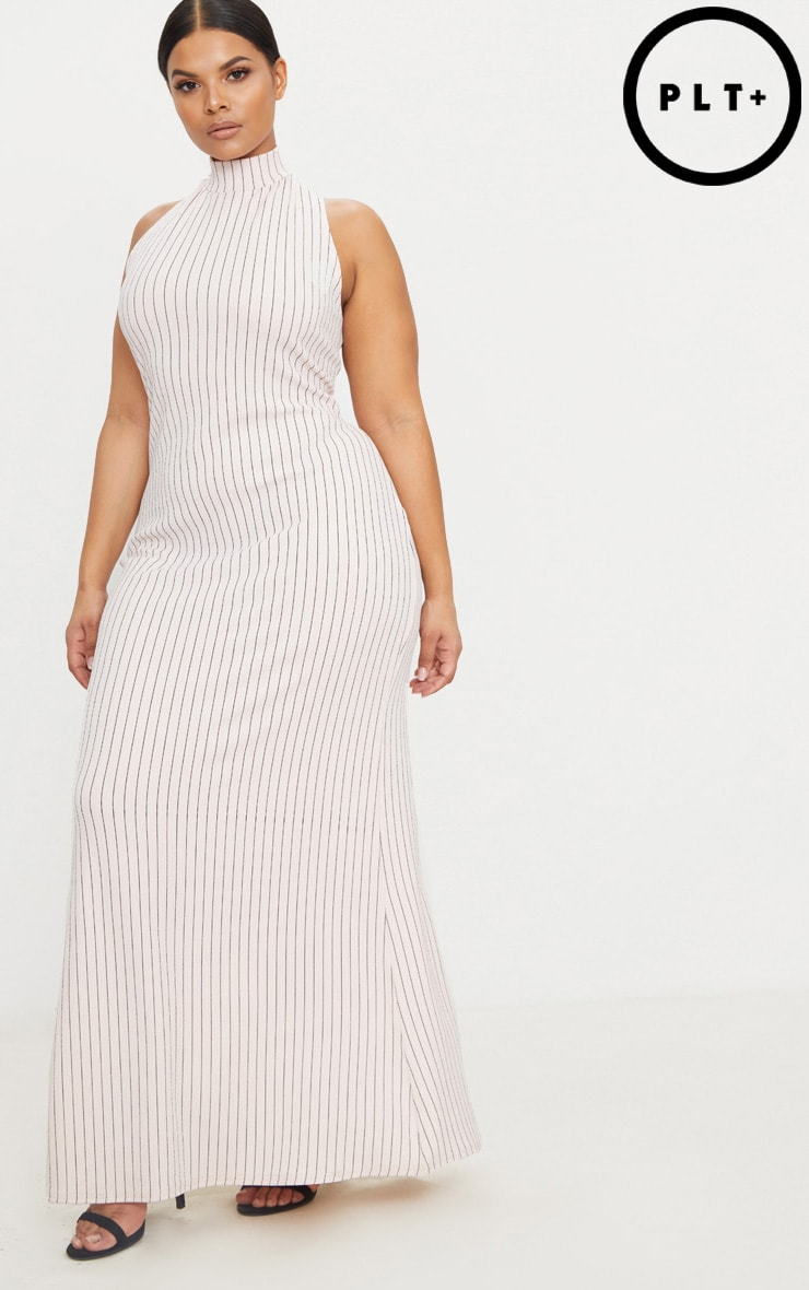 Plus Nude Pinstripe High Neck Maxi Dress 1
