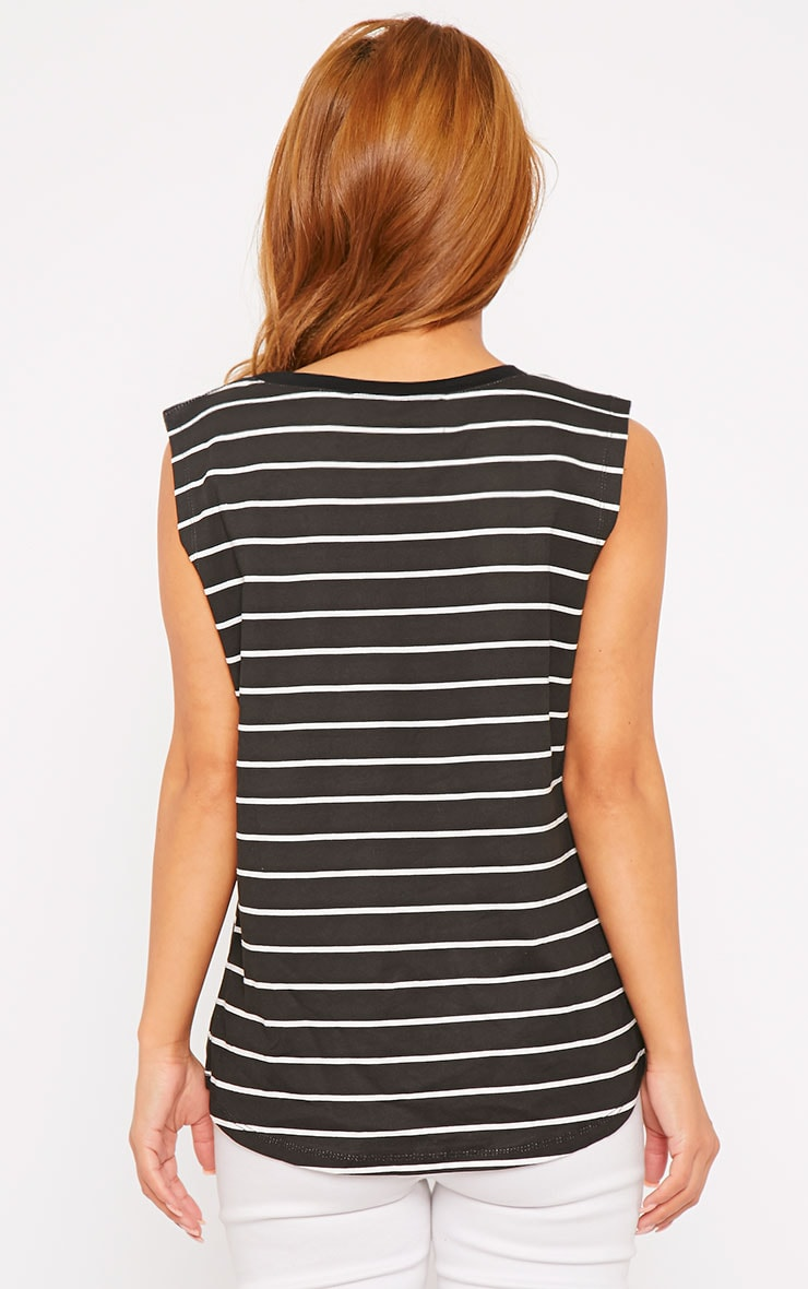 Lisbet Black Stripe Vest Top 2