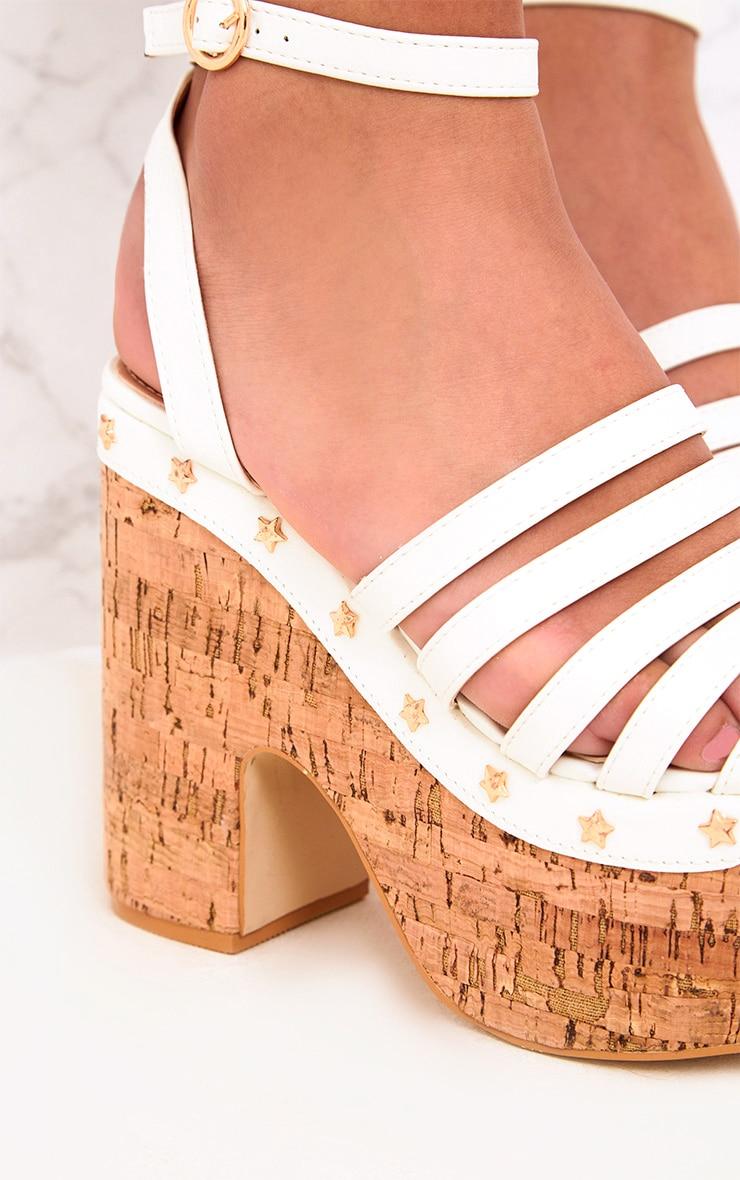 White Chunky Platform Sandals  5