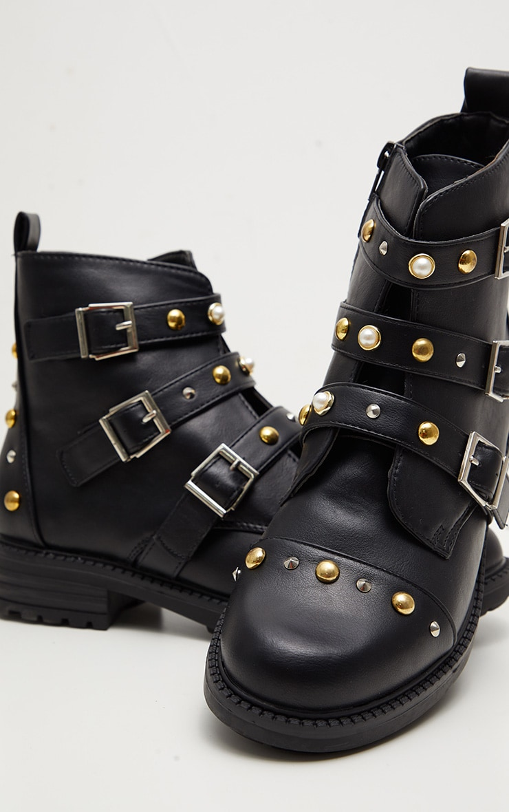 Black Stud Pearl Buckle Biker Boot 3