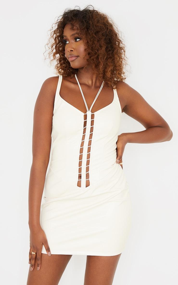 Cream PU Sleeveless Lace Up Ladder Detail Bodycon Dress 1