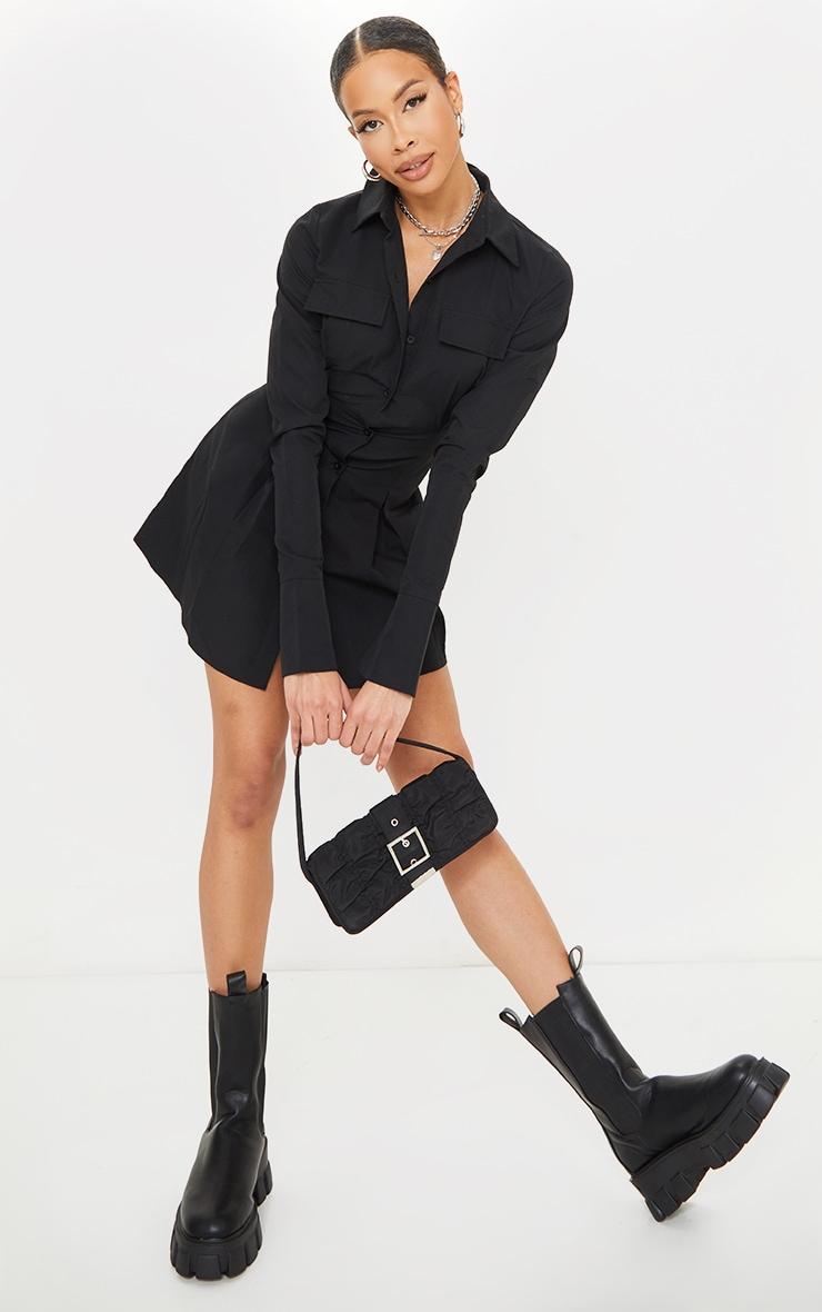 Tall Black Pocket Detail Cargo Cinched Waist Shirt Dress 3