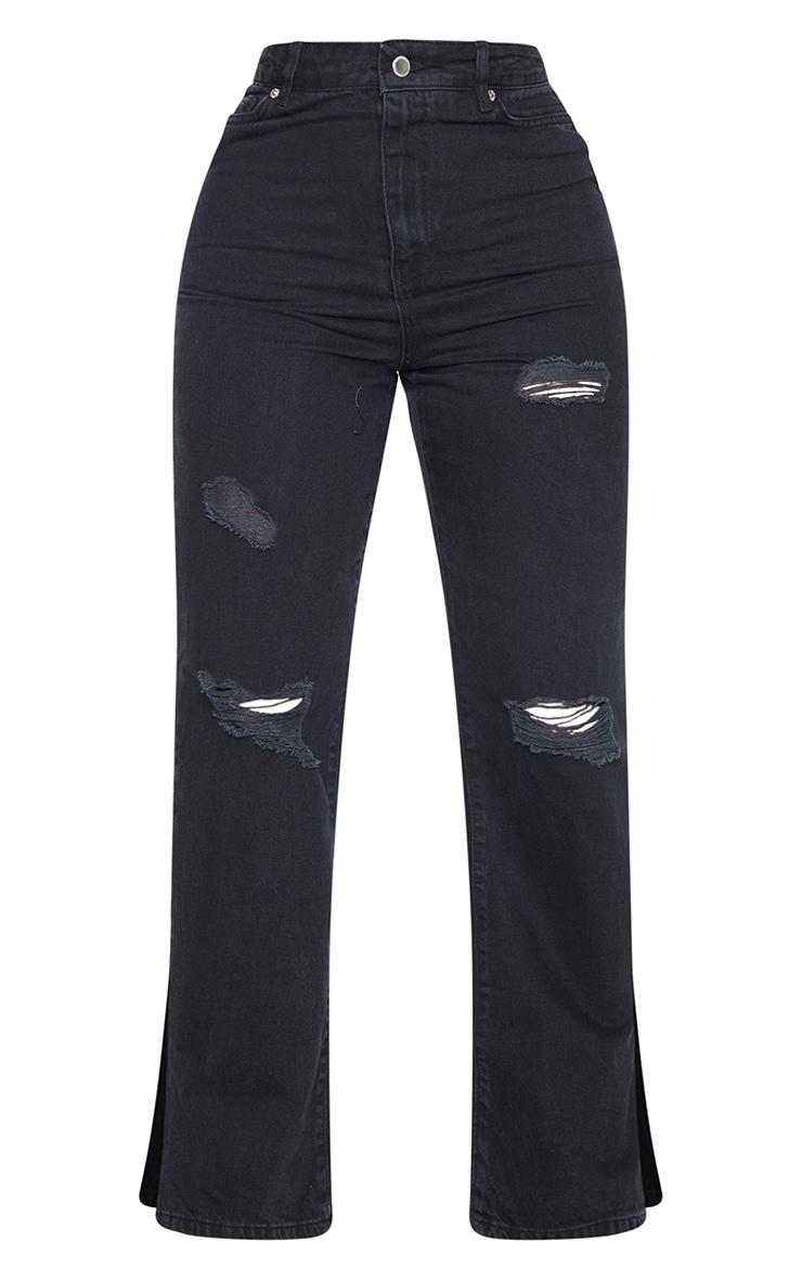 PRETTYLITTLETHING Shape - Jean ample noir déchiré à ourlet fendu 5