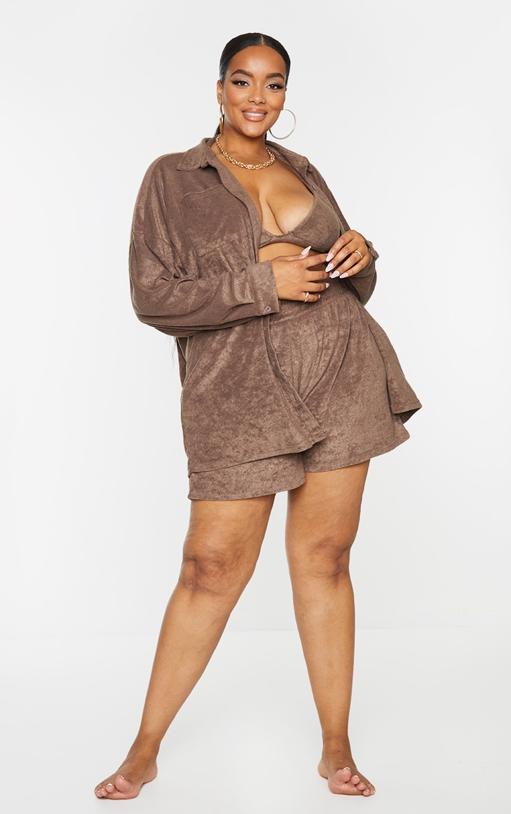 Plus Brown Towelling Oversized Shirt 1