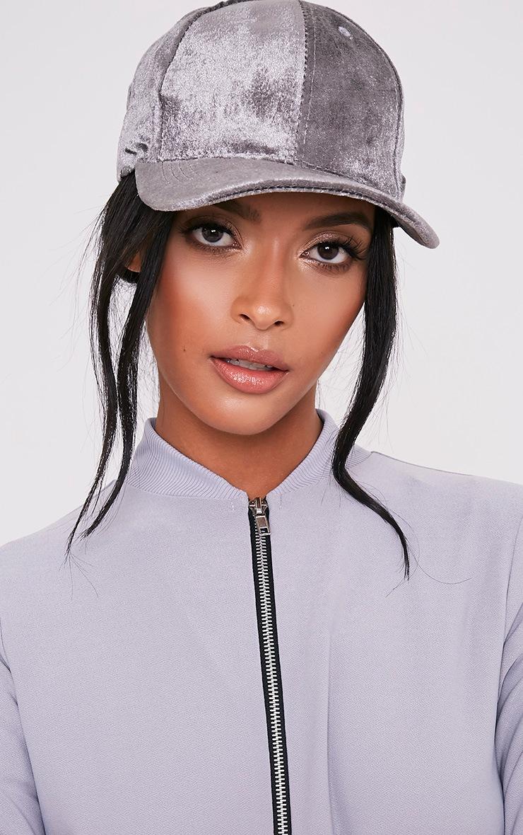 Venessa Light Grey Velvet Baseball Cap 2