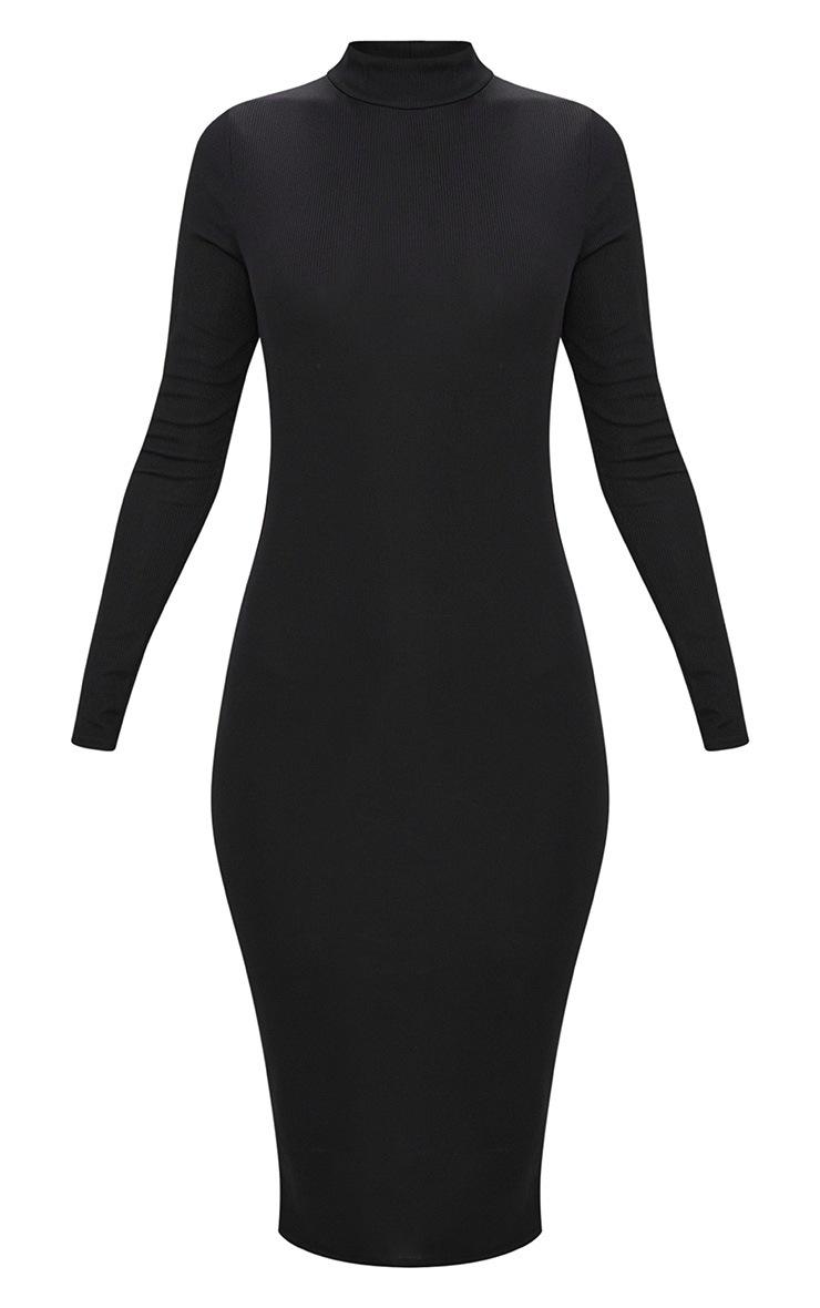 Black Ribbed Long Sleeve Midi Dress 3