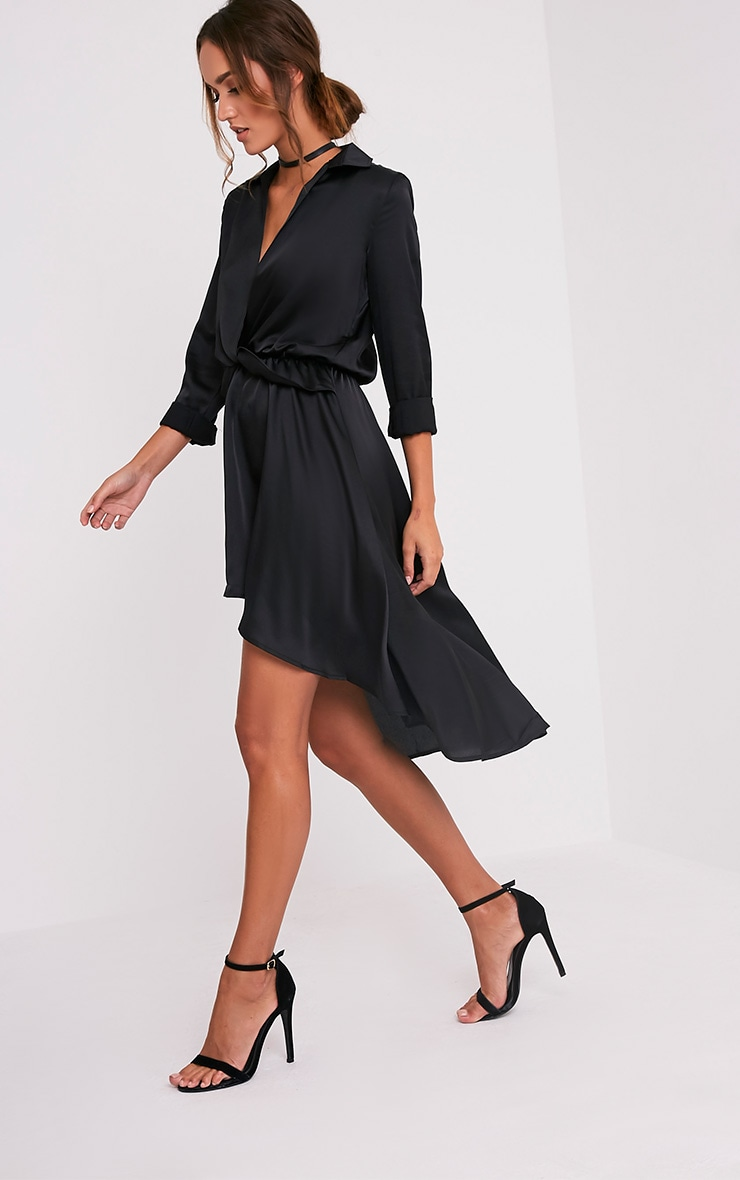 Gabbie Black Silky Wrap Over Midi Dress 5