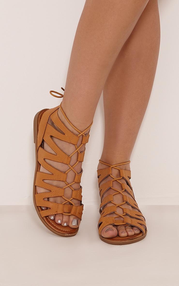 Brielle Tan Cut Out Gladiator Sandals 1
