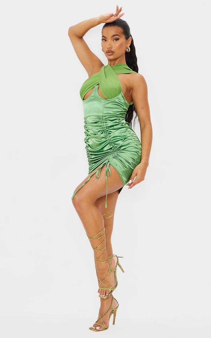 Green Satin Halterneck Underbust Ruched Bodycon Dress 1
