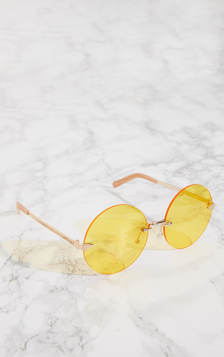 Yellow Frameless Round Sunglasses 2