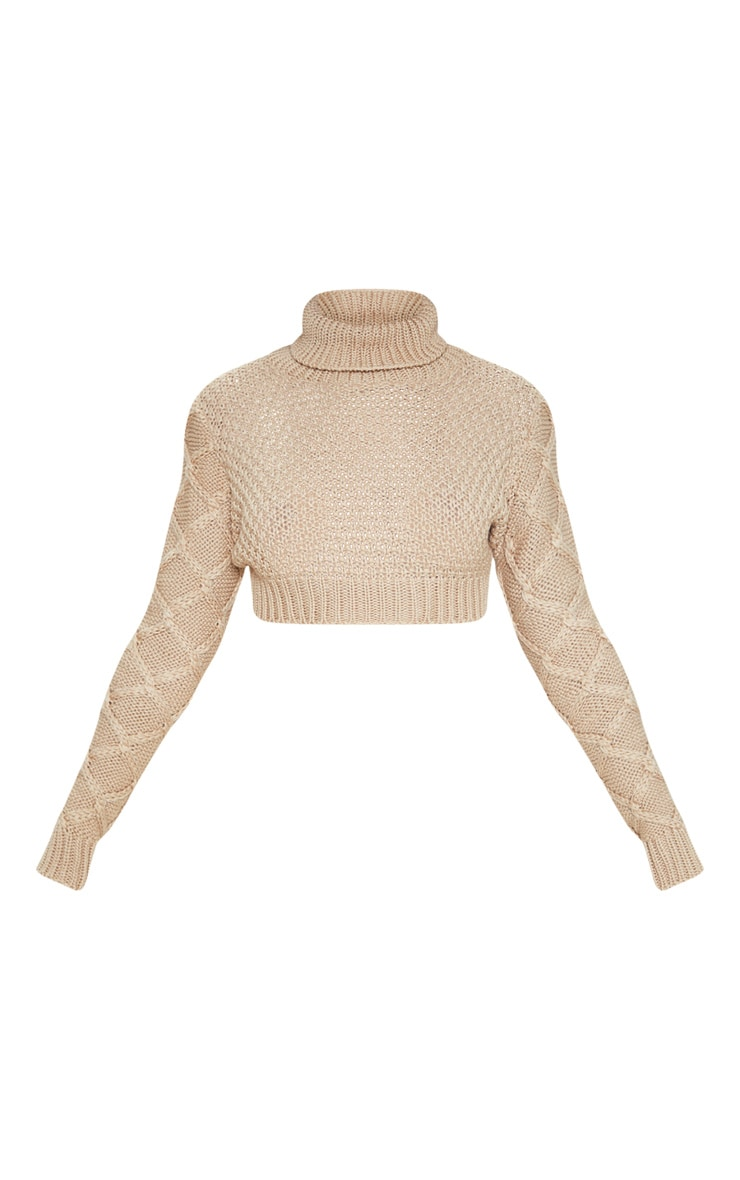 Stone Roll Neck Cable Sleeve Cropped Jumper 3