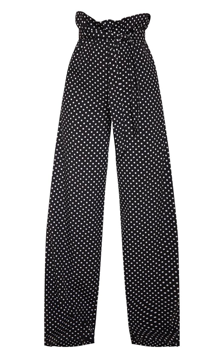 Mono Polkadot Tie Waist Paperbag Wide Leg Pants 3