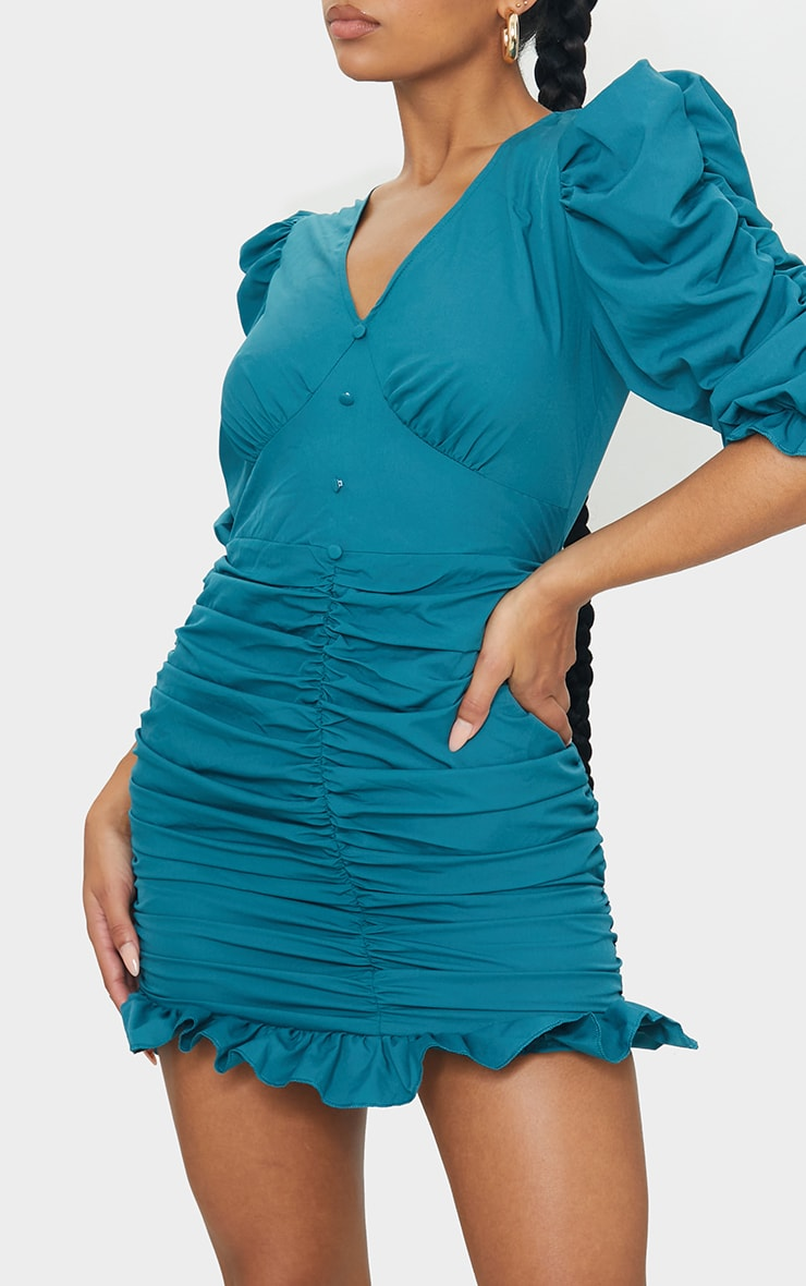 Emerald Green Plunge Puff Sleeve Ruched Skirt Bodycon Dress 4