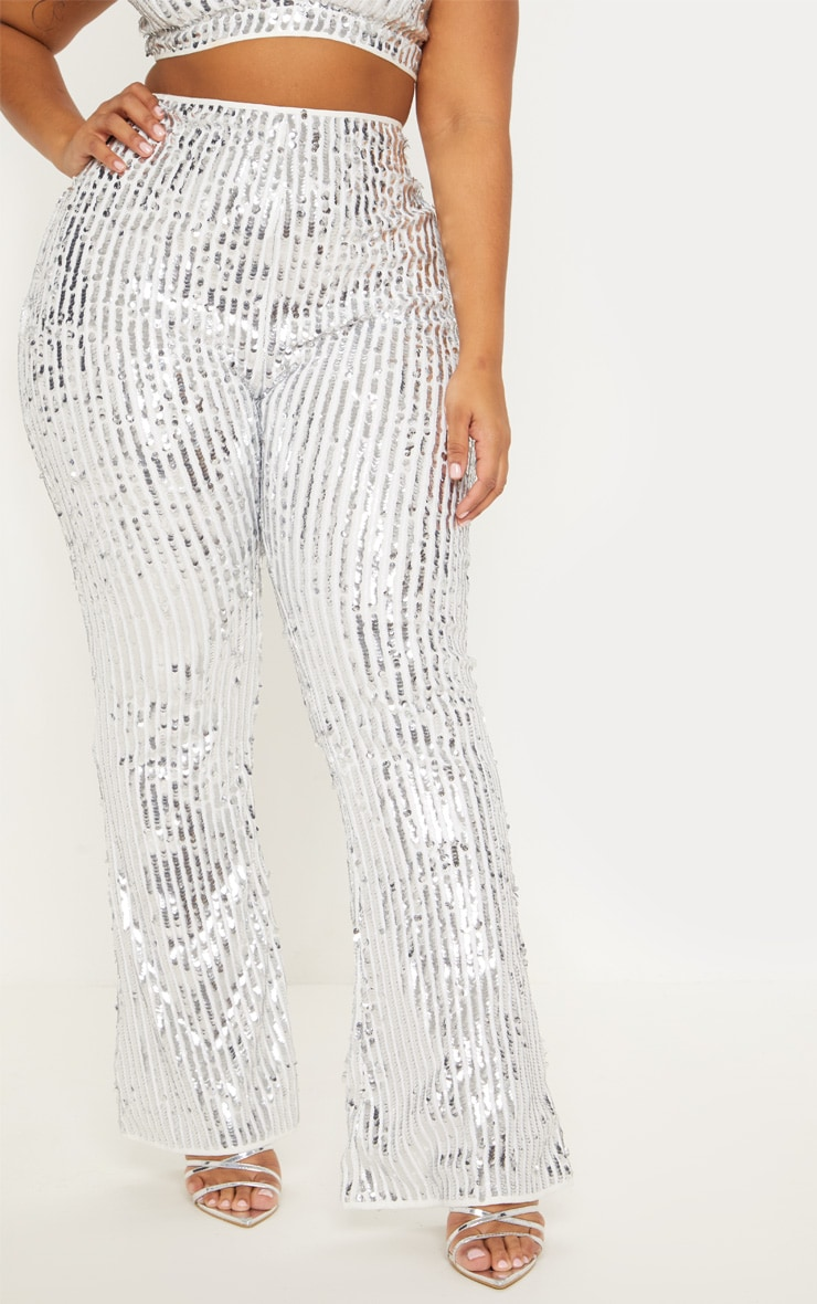 Plus Silver Sequin High Waisted Flare Trousers 3