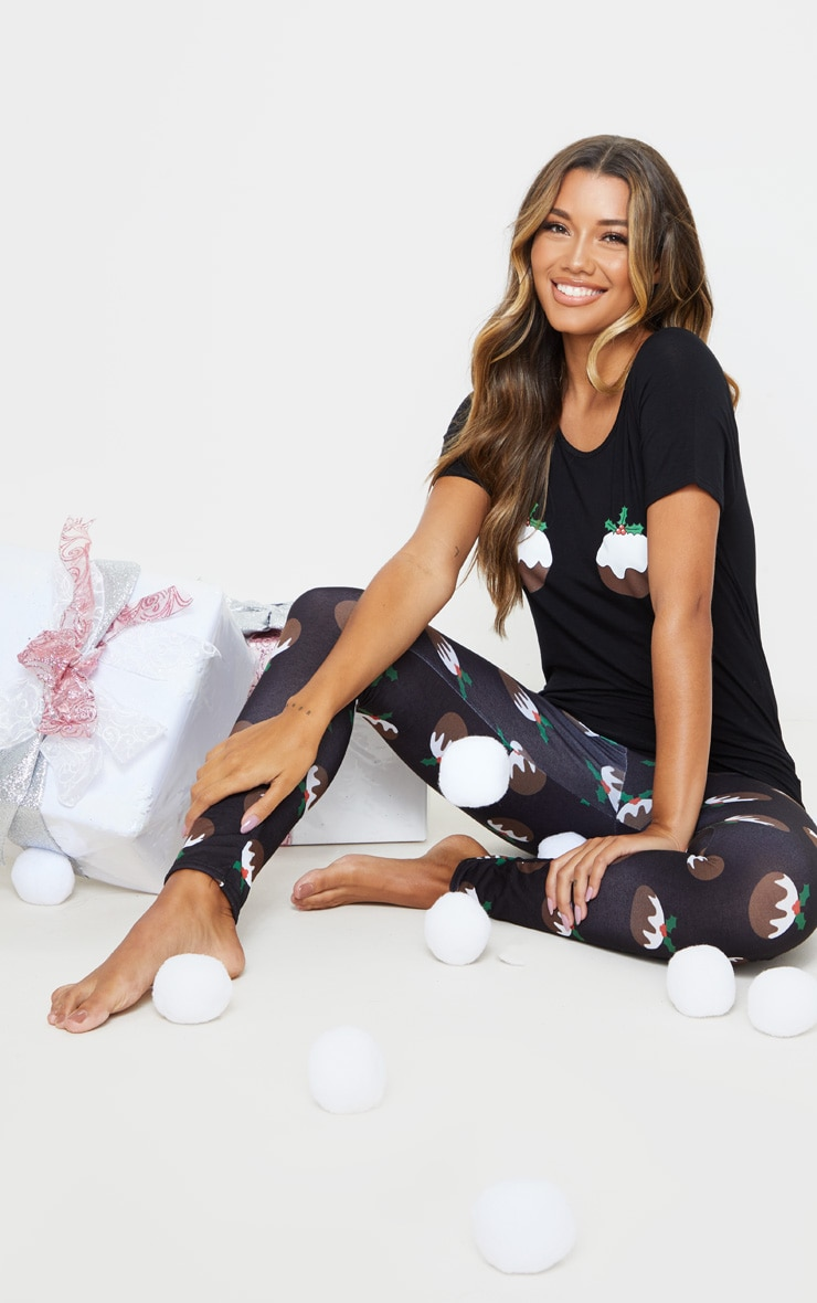 Black Christmas Pudding PJ Set 1