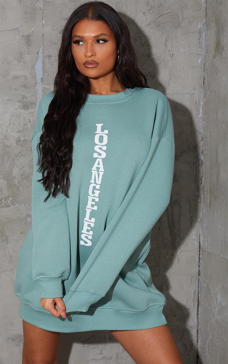Sage Green Los Angeles Graphic Oversized Sweatshirt Dress 1
