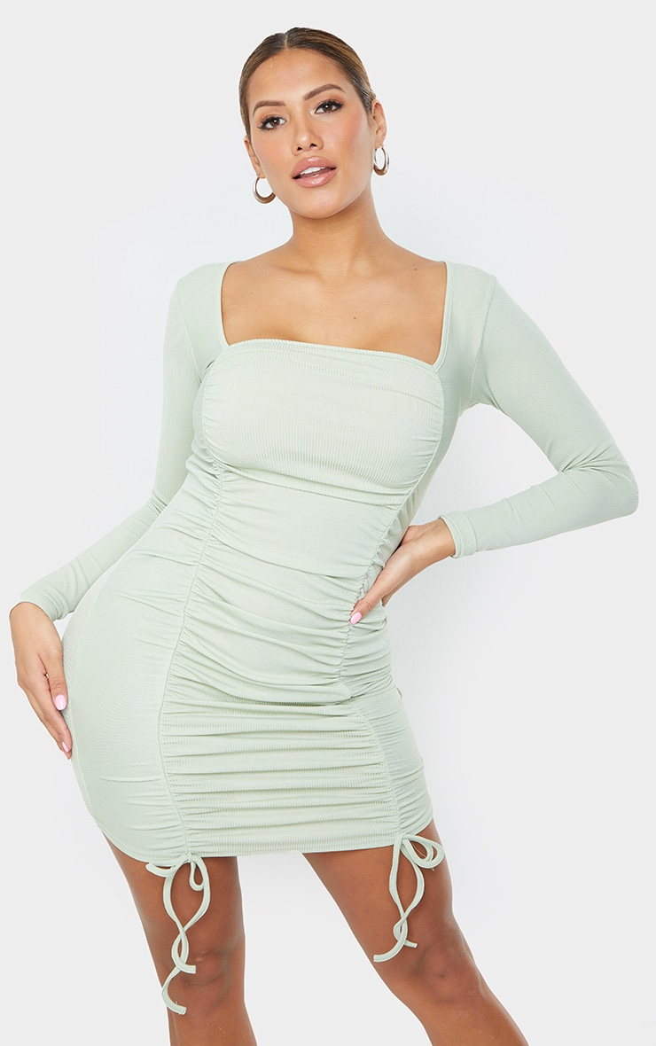 Shape Sage Green Square Neck Ruched Front Bodycon Dress 3