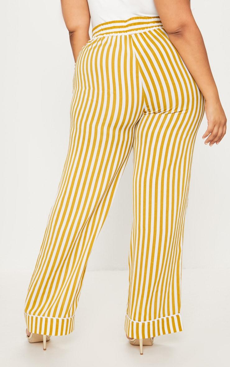 Plus Chartreuse Striped  Print Wide Leg Trousers 4